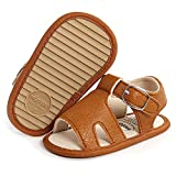 SOFMUO Baby Girls Boys Sandals Premium Soft Anti-Slip Rubber Sole Infant Summer Outdoor Shoes Open Toe Toddler First Walkers(A2/Brown,6-12 Months)