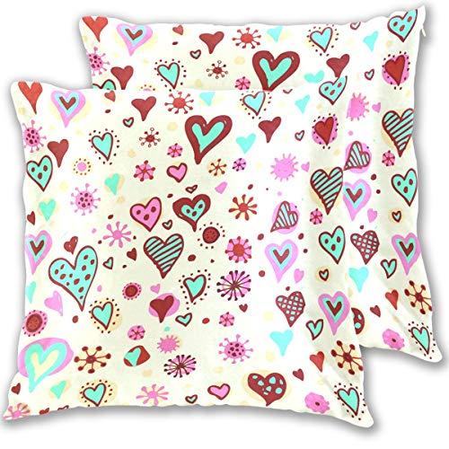 SAIAOS Juego de 2 Funda de Cojín 40x40cm Día de San Valentín Corazones Patrón Gráfico Vectorial,Fundas de Almohada para Cojines Decorativos para Sofá Cama Coche Hogar