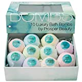Bath Bomb Gift Set 10 [BOMBS by Prosper Beauty] Fragrant Fizzies Spa Handmade Natural Organic Essential Oils Aromatherapy Bathbombs
