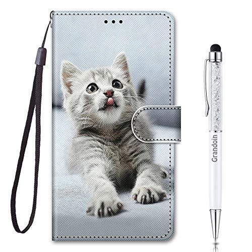 Grandoin für Motorola Moto E6 Plus Hülle, Handyhülle im Brieftasche-Stil, Handytasche PU Leder Flip Cover 3D Muster Bunte Muster Book Hülle Case Schutzhülle für Moto E6 Plus (Graue Katze)