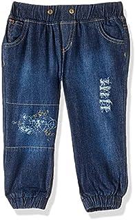 Giggles Dark Wash Banded Trim Denim Pants for Girls