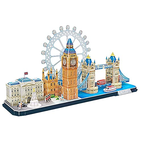 GFDGDS 3D Puzzles UK London Bridge Big Ben City Skyline Puzzle DIY Gebäudemodellbausätze Geschenk Und Souvenir Für Erwachsene Und Kinder, 107 Teile