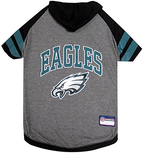 NFL Philadelphia Eagles Hoodie for Dogs & Cats.   NFL Football Licensed Dog Hoody Tee Shirt, Small  Sports Hoody T-Shirt for Pets   Licensed Sporty Dog Shirt