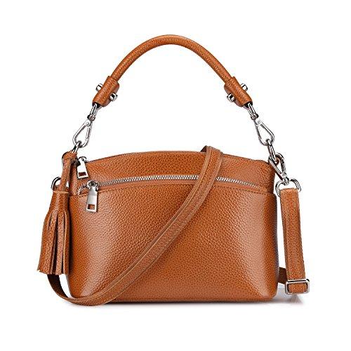 S-ZONE Women's Small Genuine Leather Top Handle Handbag Shoulder Bag Satchel Crossbody Purse (Brown)