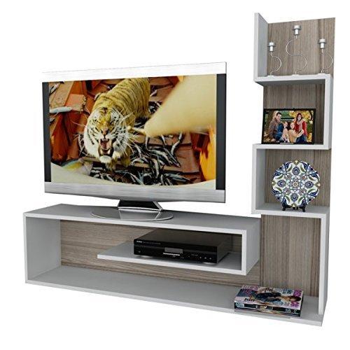 Alphamoebel 1711 Metehan TV Board Lowboard Fernsehtisch Fernsehschrank Sideboard, Wohnwand Tv Schrank Tisch für Wohnzimmer, Weiß Cordoba, Holz, Regalelement,149,5 x 29,5 x 120,8 cm