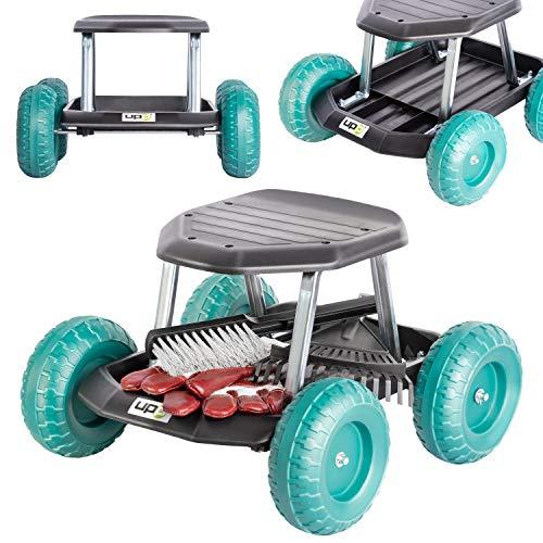 UPP Gartenwagen Rollsitz bis 130 kg mit Ablage für kleine Gartengeräte | Sitzhöhe 33 cm | Knie- und rückenschonend bei Beet Arbeiten im Garten oder bei der Auto Pflege UVM.