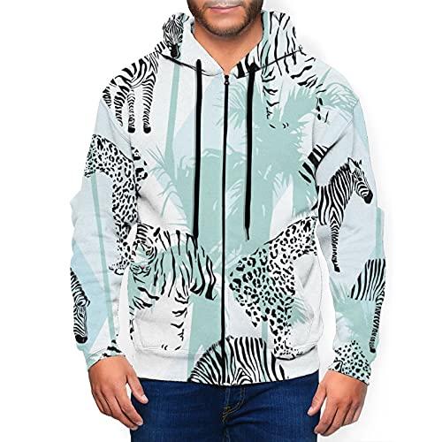 Sudadera con capucha para hombre con capucha de mosaico de cebra y tigre con capucha y estampado en 3d chaqueta con cremallera