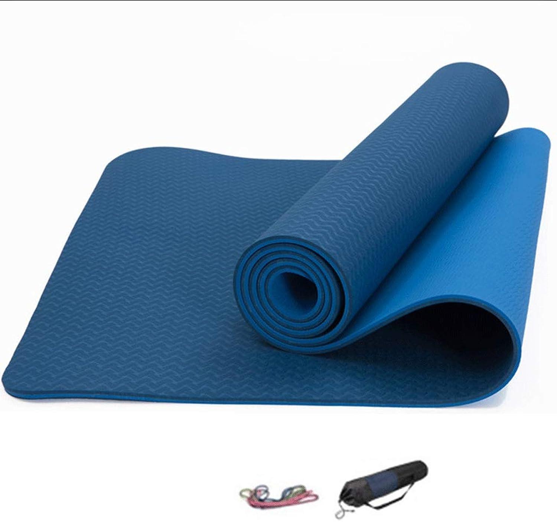 DoubleSided TPE Yoga Mat,Beginner 8mm Widened Long Yoga Mat, Female Fitness Mat ThreePiece