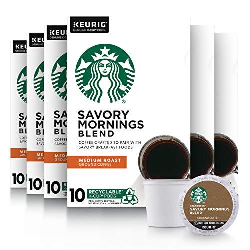 Starbucks Medium Roast K-Cup Coffee Pods Savory Mornings Blend for Keurig Brewers, 10 Count (Pack of 6)