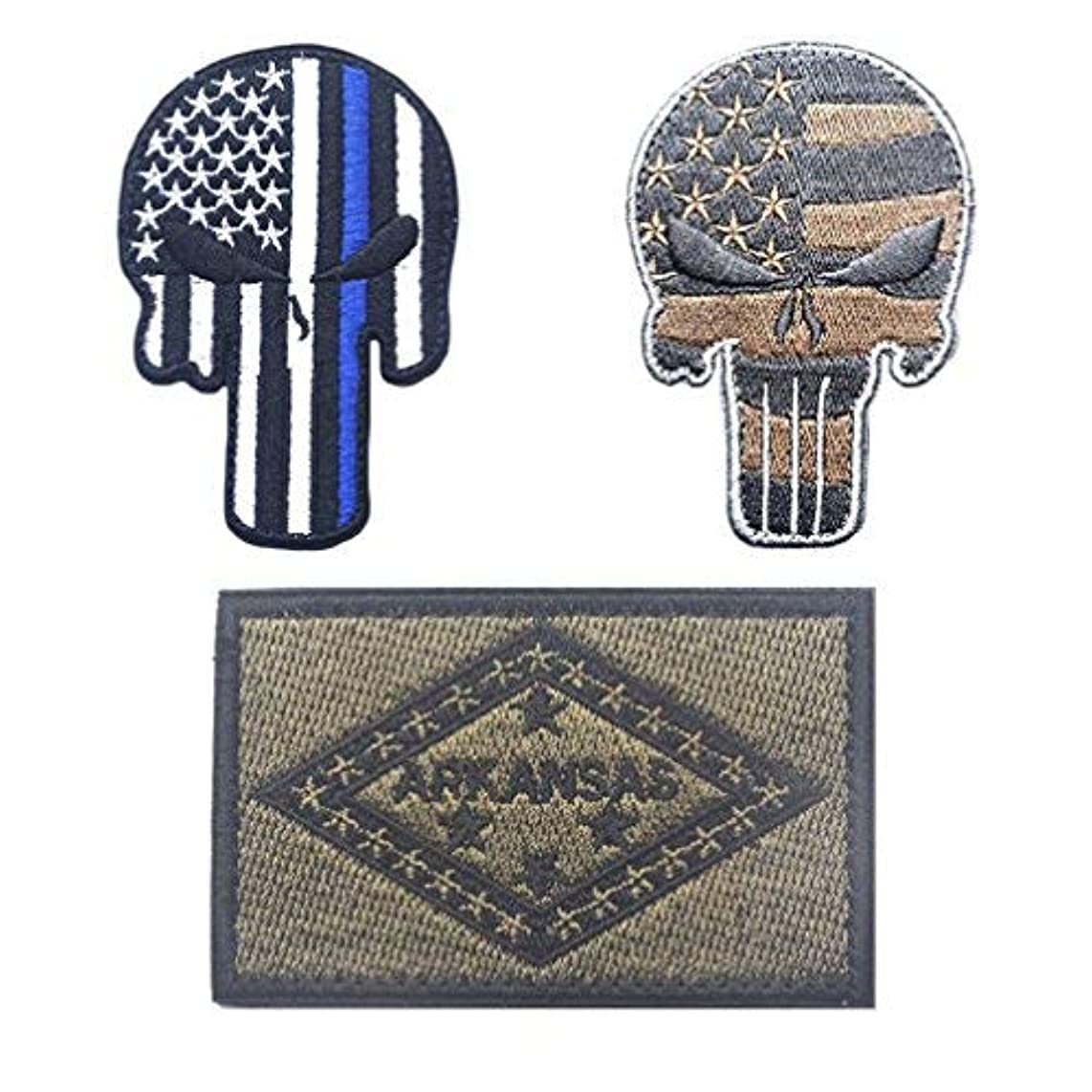Embroidery USA Arkansas State Flag and Punisher Tactical Patches (3