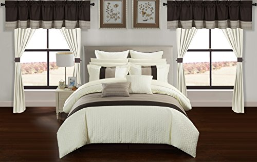 Chic Home Rory 24 Piece Comforter Set Color Block Quilted Embroidered Complete Bed in a Bag Bedding – Sheets Bed Skirt Decorative Pillows Shams Window Treatments Curtains Included, Queen Beige