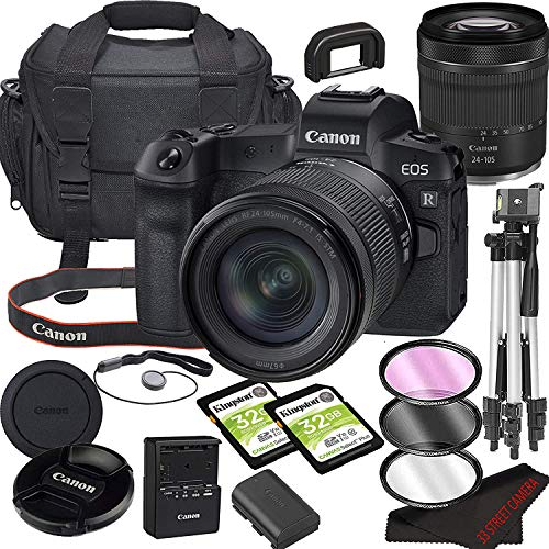 Canon EOS R Mirrorless Camera Bundle with 24-105mm STM Lens | Built-in Wi-Fi|30.3MP Full-Frame CMOS Sensor | |DIGIC 8 Image Processor and Full HD Videos + 64GB Memory(17pcs)