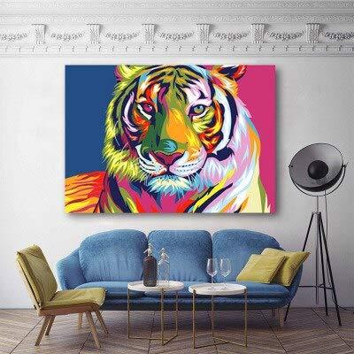 wZUN Tigre de Color Pintura al óleo Pintura Decorativa nórdica decoración del hogar impresión del Cartel 60x80 Sin Marco