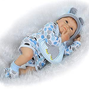 The reborn doll measures Approx 22 inches (55cm) from head to toe, and weight 3.3lbs approximately. The baby is made of silicone vinyl&cloth. The baby has soft vinyl head and 3/4 limbs and a lovely soft cotton jointed body. You cannot bath the doll. ...