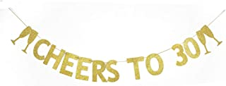 Cheers to 30 Banner, The 30th Birthday Party Decoration Gold Gliter Paper Signs