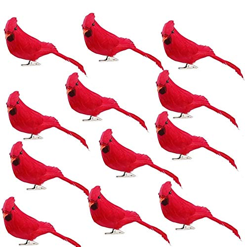 UWIOFF 12 Pcs Red Cardinals Birds Clip On Christmas Ornaments Realistic Artificial Red Birds for Christmas Tree Decorations, Wreaths and DIY Crafts