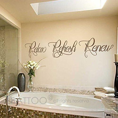 Battoo Bathroom Wall Art Bathroom Wall Decal Relax Refresh Renew Spa Wall Decal Bath Wall Decal Bathroom Decor Bathroom Wall Sticker Dark Brown 50 Wx9 2 H Amazon Ca Home Kitchen
