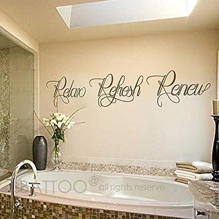 Amazon Com Battoo Bathroom Wall Art Bathroom Wall Decal Relax Refresh Renew Spa Wall Decal Bath Wall Decal Bathroom Decor Bathroom Wall Sticker Dark Brown 22 Wx4 H Furniture Decor