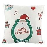 Socialme-EU 18x18 Pulgadas Funda de Almohada de Navidad Lino Papá Noel Muñeco de Nieve Reno de Arbol de Navidad Funda de Cojín de Almohada (# 13)
