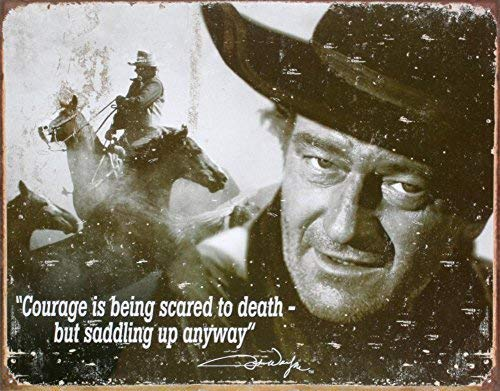 2 PCS Poster Desperate Enterprises John Wayne Courage Collectible Metal Sign, Model# 1429, 8X12in