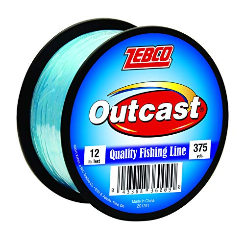 Zebco Outcast Monofilament Fishing Line, 375-Yards of 12-Pound Tested Line, Low Memory and Stretch...