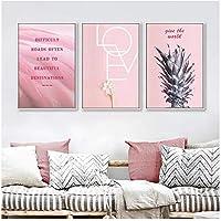 キャンバスの壁の芸術、ピンクのパイナップルの愛の引用ポスターリビングルームの家の装飾のためのキャンバスの絵画の壁の写真フレームなし