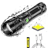 Linterna LED súper brillante 8000 lúmenes recargable, XHP50 Linterna táctica de alta potencia con zoom Linterna de mano 5 modos Antorchas LED impermeables con luz indicadora de encendido para acampar