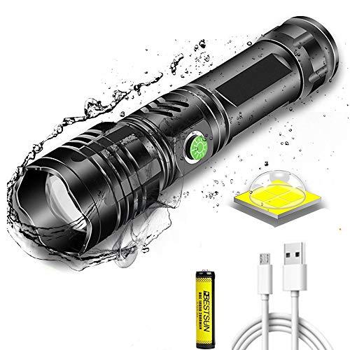 Torcia LED super luminosa 8000 lumen ricaricabile, torcia tattica XHP50 alta potenza Zoomable 5 modalità torcia portatile Torce LED impermeabili con indicatore di alimentazione per pesca in campeggio