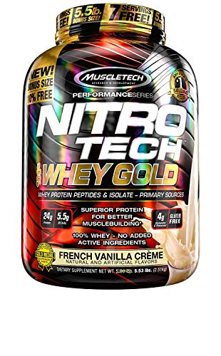 Protein Powder | MuscleTech Nitro-Tech Whey Gold | Whey Protein Powder | Whey Protein Isolate + Peptides | Protein Powder for Women & Men | Vanilla Protein Powder, 5.5 lbs (77 Servings)-package varies