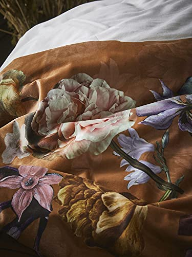 ESSENZA Quilt Fleur Blumen Pfingstrosen Tulpen Polyester Leather Brown, 220x265 cm