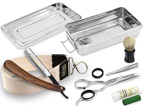 Solingen Streichriemen im Rasiermesser-Set 7 Teilig mit Solinger Paste und InstrumenteNRW Holzgriff Rasiermesser Rasierpinsel mit Rasier Box. Ideal als Geschenk für Herren
