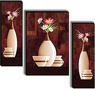 SND ART UV Textured Set of 3 Beautiful flower Print MDF Frame Wall Painting for Living Room Wall for Home Decoration (12 X...