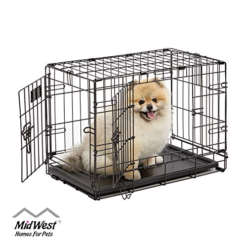 Dog Crate | MidWest iCrate XS Double Door Folding Metal Dog Crate w/ Divider Panel, Floor Protecting Feet & Leak-Proof Dog Tray | 22L x 13W x 16H inches, XS Dog Breed, Black