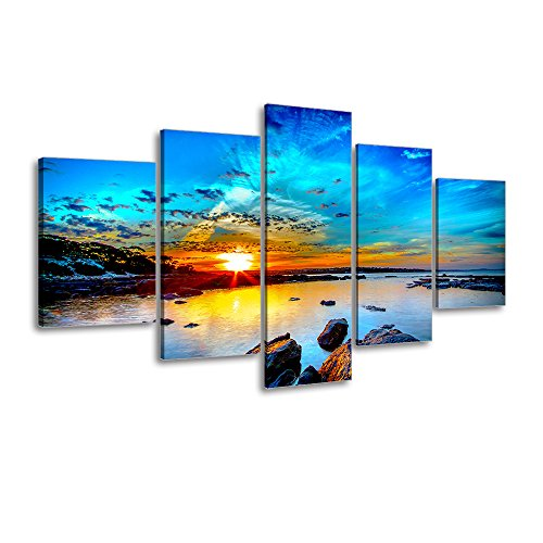 "Beach Painting Canvas Wall Art, SZ 5 Piece Beautiful Sunset and Blue Sky Picture, Rocky Seascapes Canvas Prints for Bedroom, Ready to Hang, 1"" Deep, Waterproof, Medium"