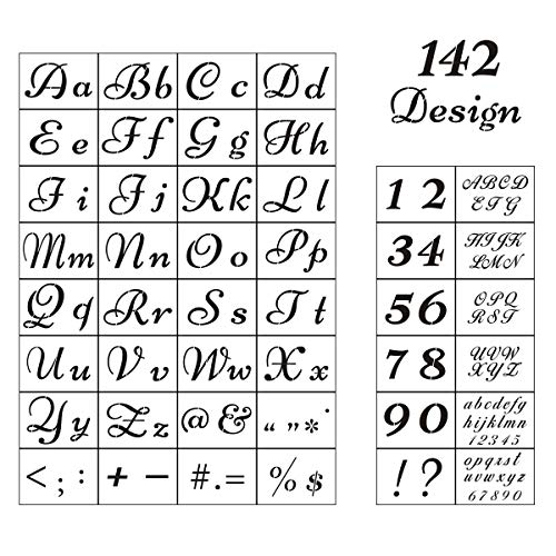 Letter Stencils for Painting on Wood - 44 Pack Alphabet Stencil Templates with Numbers and Signs, Reusable Plastic Stencils in 2 Fonts and 142 Designs for Wood Burning & Wall Art