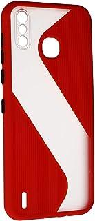 جراب خلفى قوى رفيع بتصميم مموج مع واقى للكاميرا لانفنيكس سمارت 4 X653 - احمر شفاف