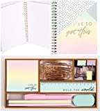 Desk Stationery Set Office Supplies Organiser Tidy Pastel Pen Pencil Tray Storage Pot Holder A4 Notebook Rose Gold Stationies Mixed Set Tidier Home School University