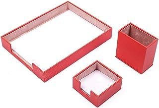 Güner Ofis Deri 3 Parça Masa Üstü Seti Kırmızı Tekli Evrak Rafı, Kalemlik ve Notluk