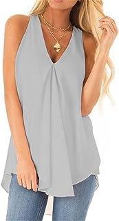 Women Vest Blouse Personality Fashion Summer V Neck Solid Color Women T-Shirts Sexy Irregular Hem Sleeveless Design Daily ...