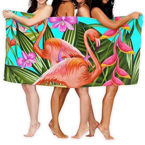 Yaxinduobao Toalla de Playa Illustration of Flamingo Toalla de Playa Microfiber Super Absorbent Personality Toalla de baño Quick Drying Beach Blanket Towels 130 x 80 cm ZO