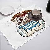 FloraGrantnan - Juego de 8 manteles individuales decorativos con impresión 3D, diseño de Pug Pirate Pug Conqueror of the Seas Pipe Skulls para decoración de comedor de cocina