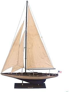 Hampton Nautical Rustic Wooden Model Sailing Yacht Enterprise, 35