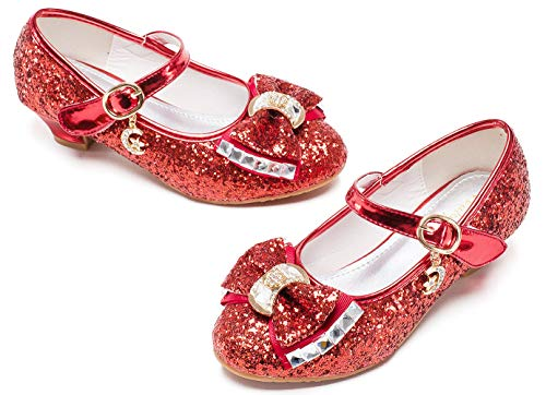 Red Mary Jane Glitter Shoes for Girls Size 13 Wedding Party Wear High Heels Shoes for Girls Wedding 8 Yr Cosplay Low Heeled Princess Little Kid Sequin Bridesmaid 13 Girl Dress Shoes (Red 33)