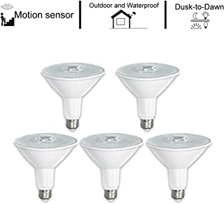 ECOL Super Bright 12W Par38 LED Flood Light Bulb,Motion Sensor and Dusk to Dawn IP65 Indoor and Outdoor Use,100-120W Equivalent, 1200lm, 3000K Warm White, 45 Degree Beam Angle, Medium Base(E26)-5Pack