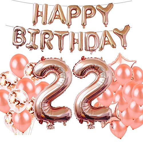 22nd Birthday Decorations Party Supplies, Jumbo Rose Gold Foil Balloons for Birthday Party Supplies,Anniversary Events Decorations and Graduation Decorations Sweet 22 Party,22nd Anniversary