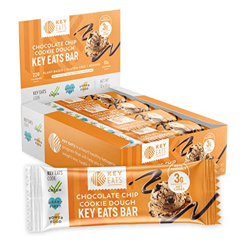 Keto Bars - 12 Count - Gluten Free Keto Friendly Bars Bars, Low Carb, Low Sugar, High Fiber Snacks - Plant Based Protein Bars - Individually Wrapped (Chocolate Chip Cookie Dough)