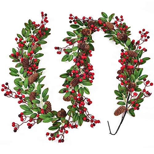 YQing Ghirlanda natalizia artificiale con foglie rosse e nere, verde bacca, ghirlanda natalizia con agrifoglio, ghirlanda di bacche di agrifoglio, decorazione per la casa per le vacanze invernali e Capodanno
