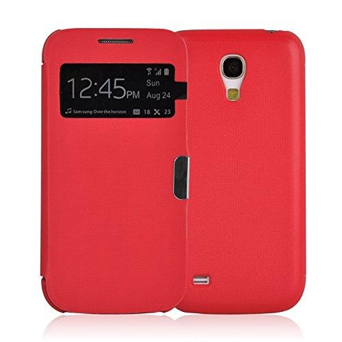 JAMMYLIZARD Smart View Hülle für Samsung Galaxy S4 Mini | Sichtfenster Schutzhülle Flip Hülle Handyhülle Cover mit S-View Funktion, Rot