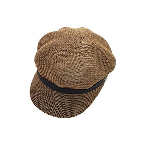 Gysad Sombrero Mujer Transpirable y Comodo Newsboy Hat Diseño Retro Sombrero Mujer Verano Elegante y Encantador Sombrero Paja Mujer Boina Mujer Sombrero para el Sol Mujer