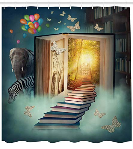 AFDSJJDK duschvorhang schwer Upstairs to The Book Land Forest mit Ballon Zebra Elefant Schmetterlinge Badezimmer-Accessoires Teal Yellow